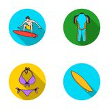 Surfer, wetsuit, bikini, surfboard. Surfing set collection icons in flat style vector symbol stock illustration web. Royalty Free Stock Photos