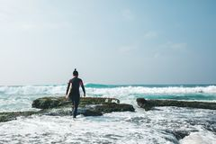 Surfer woman with surfboard royalty free stock photo