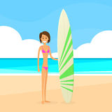 Surfer Woman With Surfing Board Summer Holiday Royalty Free Stock Photo