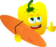 Surfer yellow bell pepper with thumb up Royalty Free Stock Photo