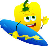 Surfer yellow bell pepper Royalty Free Stock Images