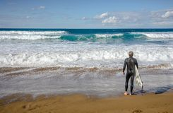 Surfer in Zarautz, Spain Royalty Free Stock Photos