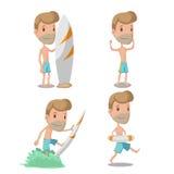 Surferbeeldverhaal Guy Character Set Vector royalty-vrije stock afbeeldingen