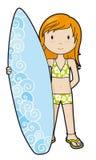 SurferGirl no biquini ilustração stock