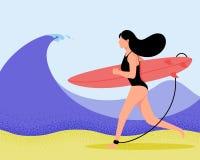 Surfermädchen auf Welle in der flachen Art Zeichentrickfilm-Figur-Vektorillustration Stockbilder
