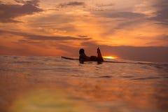 Surfermädchen im Ozean zur Sonnenuntergangzeit Lizenzfreie Stockfotografie