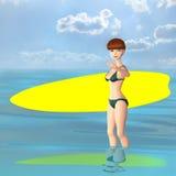 Surfermeisje. royalty-vrije illustratie