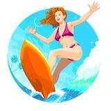 Surfermeisje Royalty-vrije Stock Afbeelding