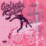 Surfermeisje op roze grafische achtergrond, vectormalplaatje Beeldverhaal, vlakke stijl, silhouet, het van letters voorzien royalty-vrije illustratie