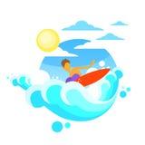 Surfermens het Surfen Overzeese Golf aan boord van de Zomeroceaan Stock Afbeeldingen