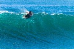 Surferpeddels over Cresting-de Afstraffing van de Golfvlucht stock foto