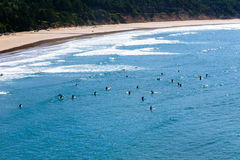 Surfers στον ωκεανό Στοκ Φωτογραφία