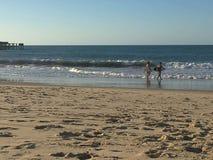 Surfers στο ηλιοβασίλεμα στοκ εικόνες με δικαίωμα ελεύθερης χρήσης