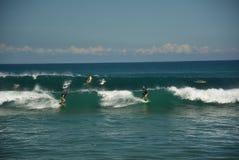 Surfers στο κύμα Στοκ φωτογραφίες με δικαίωμα ελεύθερης χρήσης
