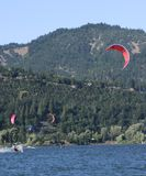 Surfers. Wind surfing on the Columbia river. Hood River Oregon Royalty Free Stock Images