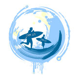 Surfers. And surf background vector Stock Photography