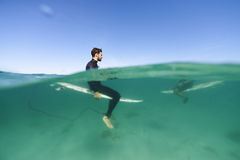Surfers above and below waterline Royalty Free Stock Photos