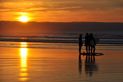 Free Surfers At Sunset Royalty Free Stock Photo - 48466485