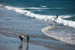 Surfers on a beach Stock Image