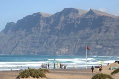 Popular Surfers Paradise beach in Famara, Lanzarote, Spain Stock Images