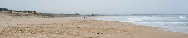 Surfers on a beach on Oleron Island, France.  stock photos