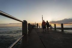 Surfers Beach Pier Ocean Stock Image