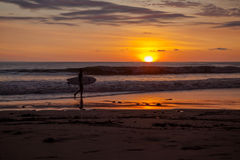 Surfers on the beach of Santa Teresa at sunset / Costa Rica Stock Image