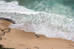 Surfers on beach top view Royalty Free Stock Photo