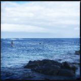 Surfers bij Haleakala-strand stock foto's
