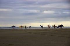 Surfers bij schemer op 90 Mijlstrand, Ahipara, Nieuw Zeeland Stock Afbeeldingen