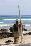 Surfers at Byron Bay Australia Stock Photos
