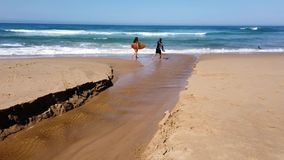 Surfers carrying surfboards on Pacific Ocean Beach, Australia stock footage