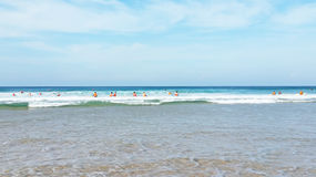 Surfers class at Vale Figueiras beach Portugal Royalty Free Stock Photos