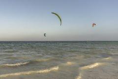 Surfers de cerf-volant sur la plage de Zanzibar Image stock