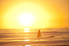 Surfers de coucher du soleil Photo libre de droits