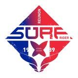 Surfers de la Réunion Équipe de l'Océan Indien Illustration de vecteur pour le ressac Image libre de droits