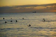 Surfers die op de laatste golf bij zonsondergang bij Waikiki-Strand Hon wachten Stock Foto's
