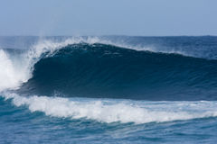 Surfers Dream Wave. Perfect Wave for Surfing Breaks in blue ocean, Maui, Hawaii royalty free stock image