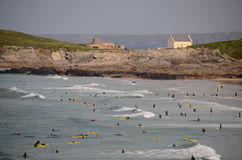 Surfers at Fistral Beach, Newquay. Surfers & bodyboarders at Fistral Beach, Newquay in Cornwall Royalty Free Stock Photo