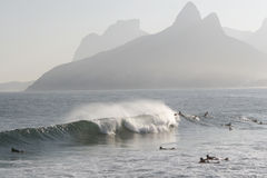 Surfers at Ipanema Beach Stock Images