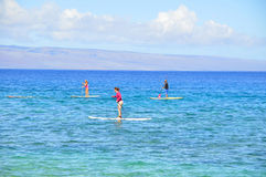 Surfers, Kaanapali, Maui, Hawaii Stock Photography