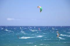 Surfers and kitesurfers in El Medano on Tenerife Royalty Free Stock Image