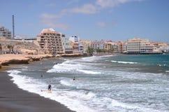 Surfers and kitesurfers in El Medano on Tenerife Stock Photo