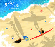 Surfers man and woman standing near water. Top view vector illustration of surfers man and woman standing near water with long shadows Stock Image