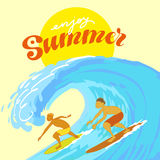 Surfers in the Ocean during Summer Stock Images