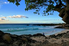 Surfers op een strand in Hawaï royalty-vrije stock fotografie
