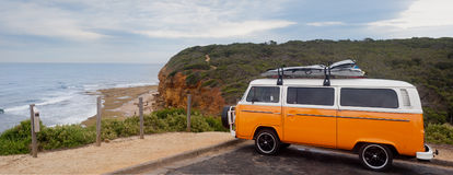 Surfers Orange Van on Bells beach - Australia Stock Image