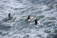 Free Surfers Paddling Out To Catch A Wave Royalty Free Stock Photo - 9603305