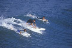 Surfers paddling into waves Royalty Free Stock Photos