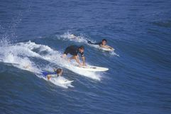 Surfers paddling into waves, Huntington Beach, CA Stock Image
